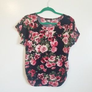 Annabelle Navy Pink Rose Print Ruched Short Sleeve
